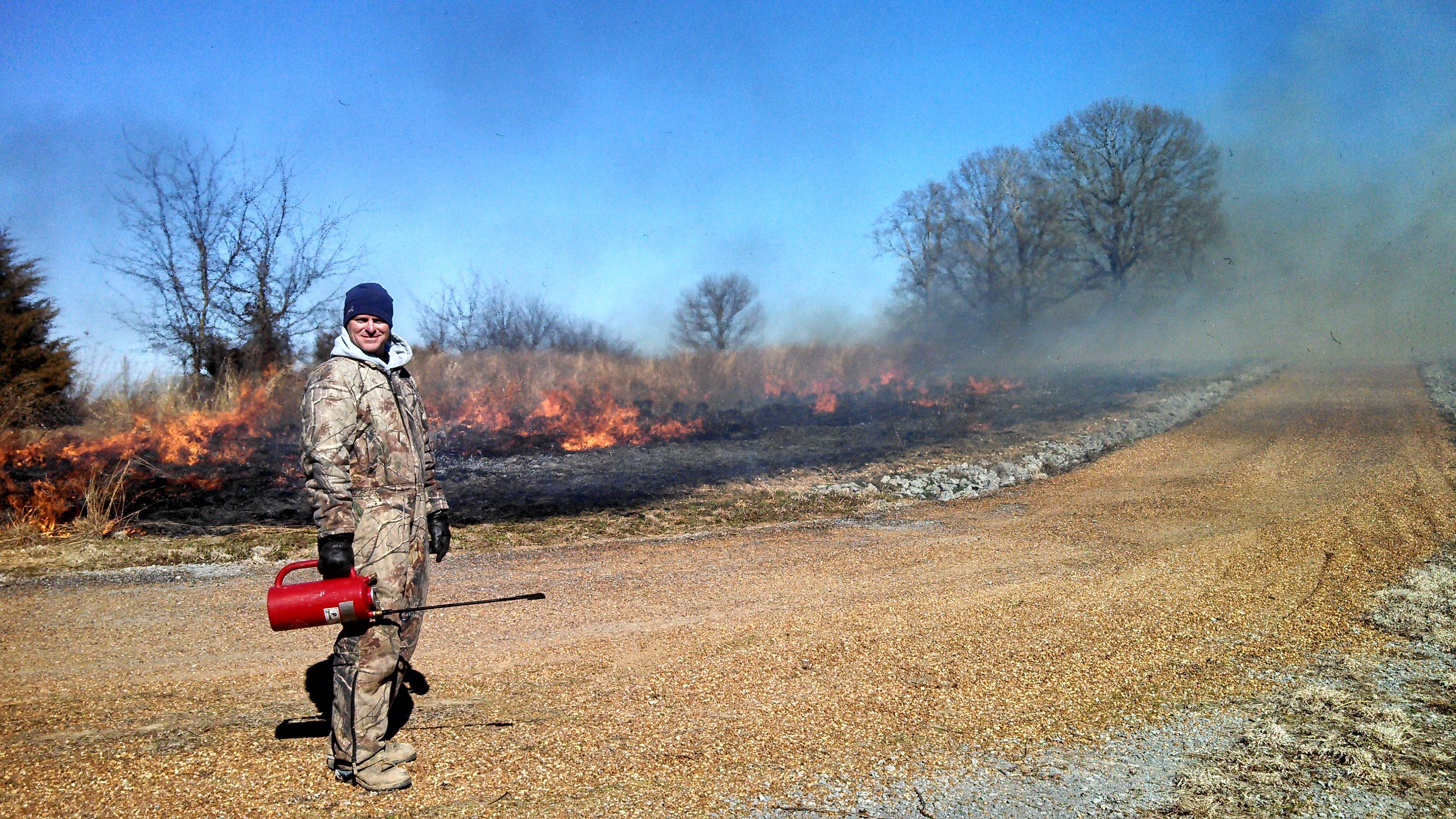 NRCS DC, Cory Hodge in Bedford County monitors Prescribed Burn
